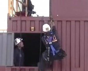 Image of Firefighters Rappelling off the Buckeye System